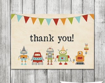 Robot Thank You Card - Printable file 4x6 - INSTANT DOWNLOAD