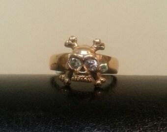 gold  Skull cross bone  ring alternative steampunk gothic punk pirate