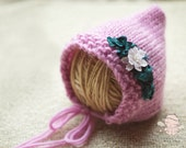 Clearance - Pixie Hat -Pixie Bonnet - Ready to Ship - Girl Photo Prop -Newborn Photo Prop - Newborn Hat - Knit - Flower Pixie Bonnet