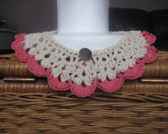 Vintage Inspired Lace Crocheted Collar Cream with Coral