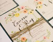 Boho Chic Floral Wedding Invitation Set as featured on Ruffledblog.com