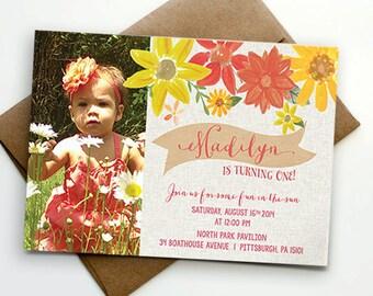 Floral Birthday Party Invitation - Printable