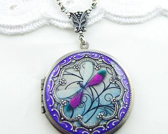 Dragonfly Locket. Silver Locket.Valentine Gift For Her,Replated Silver Vintage Brass Locket.Resin Locket.Picture Locket