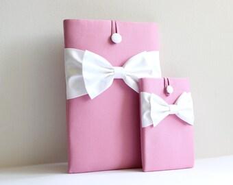 iPad Mini Case,Kindle HD,Kobo,eReader Sleeve,Nexus 7,Custom Tablet Sleeve, Handmade and Padded-Charm Pink, White Double Bow