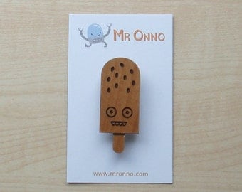 Gone Nuts Ice Cream Badge - Limited Edition Wood Laser Cut Design