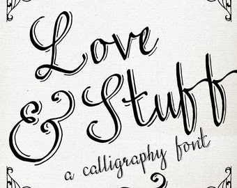 Calligraphy Font Download // Hand Drawn Pen // Hand Lettering Lettered // TTF // Catchword Catch Word Flourish Ornament // Commercial Use