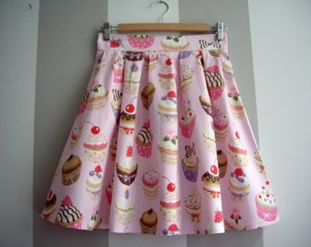 Pink Skirt, Pink Cupcake Skirt, Cotton High Waisted Pleated Skirt,Cupcakes Print, Made to Order