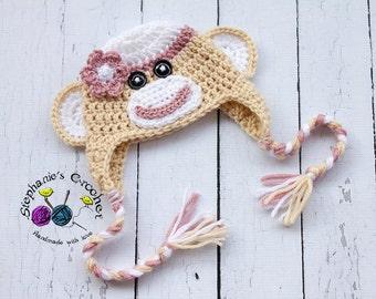 Crochet girl Sock Monkey hat photography prop infant girl hat photo prop crochet baby hat-Made to order
