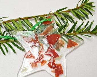 Fused Glass Star Ornament/  Suncatcher