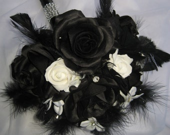 Black And White Wedding Bouquet With Feathers