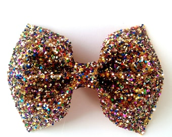 Mini Multi Colour Glitter Bow / Multi Colour Glitter Bow / Glitter Fabric Bow / Headband / Sparkly Hair Clip / Bow Hair Clip