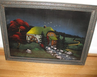 "ANTIQUE FRAMED VELVET Painting Chalet With Water Wheel 17"" x 22"""