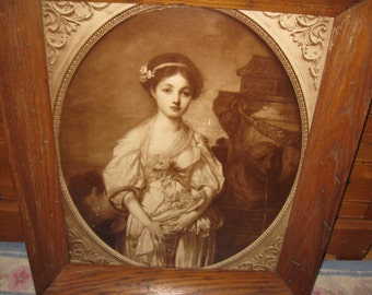 "ANTIQUE OAK FRAME-Vintage Print Young Girl In The Garden 22"" x 25 3/4"""