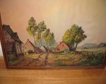 """FRAMED COUNTRY SCENE 1957 17"""" X 13"""" Wood Frame"""