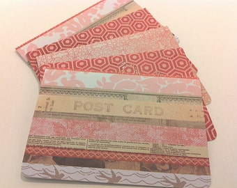 Pink and Red blank note card set