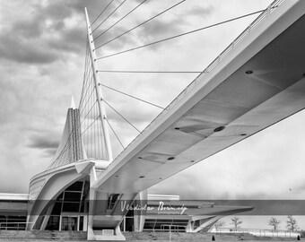 Milwaukee Photography - Milwaukee Art Museum. Quadracci Pavilion Photograph. Milwaukee Calatrava in Black & White - 8x10 photo