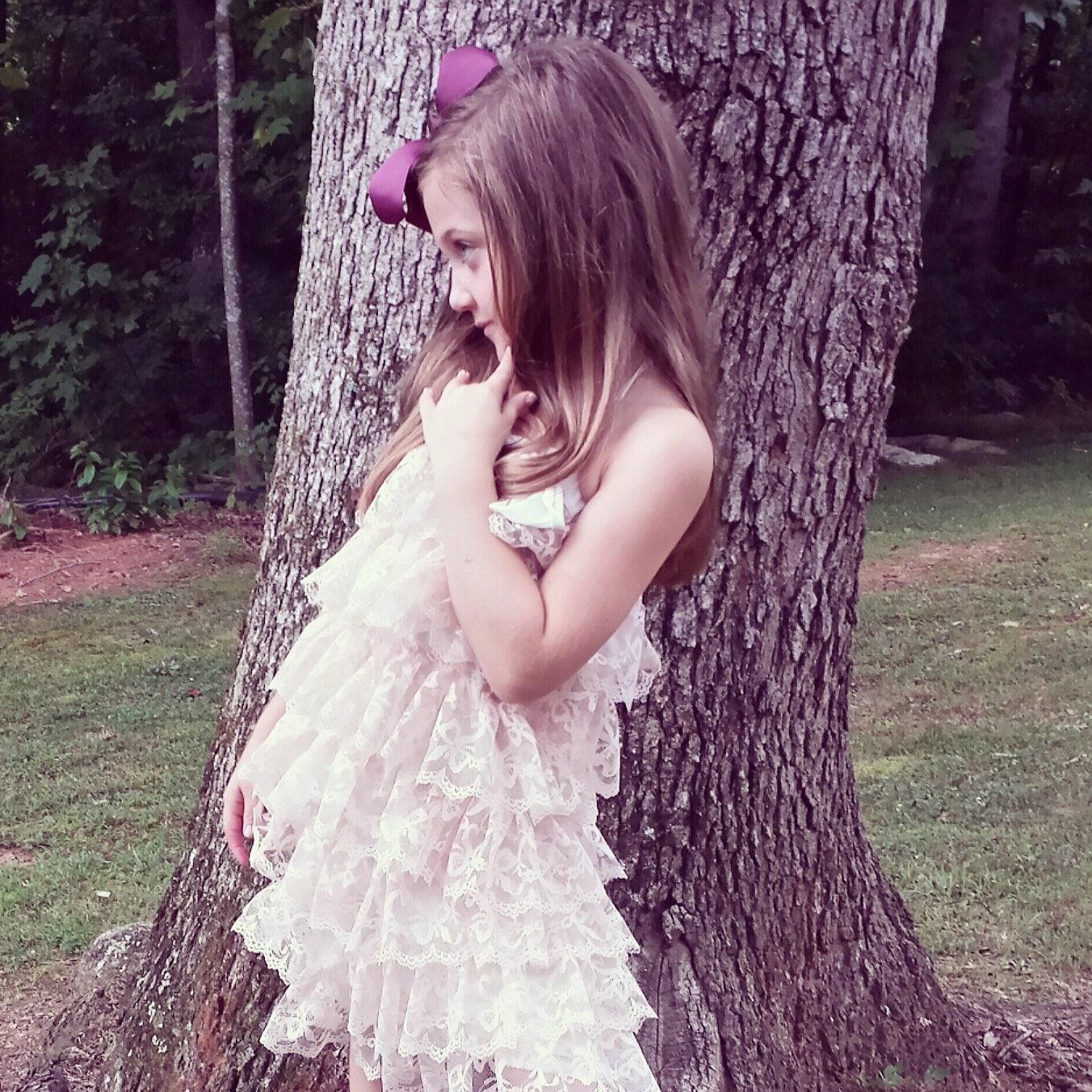 Flower Girls Lace Dress Blush Ivory Lace Dress Junior
