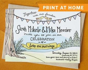 Evergreen in Love: Hand Drawn Wedding Invitation Printable - Perfect DIY Summer Invite, Woodland Invite, Country Invite, or Woodsy Invite