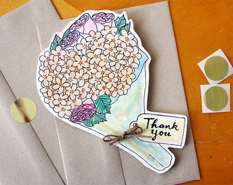 Hydrangeas and Roses: Bouquet Thank You Card