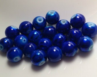 Royal Blue Lampwork Beads 10MM - 15 QTY