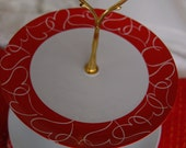 VALENTINE Tea Stand/Cake Stand/3 Tiered Serving Party Tray Upcycled with Gold hardware, Cupcake tray for a Party(153F)