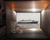 Steampunk style picture frame - wide wood frame with b/w ship pic with gears and ornate mini picture - WannabeBadJuJu