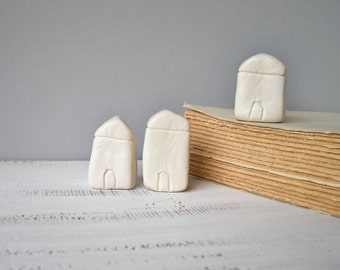 Miniature clay houses, little white houses, minimalist home decor, natural, first home, housewarming gift, shelf decor, gifts under 30