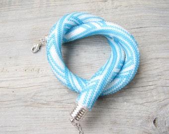 blue Beaded crochet necklace Bead Crochet Rope blue crochet necklace Turquoise necklace white crochet necklace, bib statement necklace
