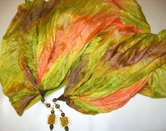 Hand Painted Pure Silk Scarf with Pendants.