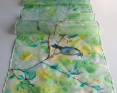 lime green silk scarf, spring floral scarf , green and yellow with blue bird art