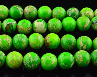 "15.5""   Green  Imperial Jasper  Round Beads --10MM"