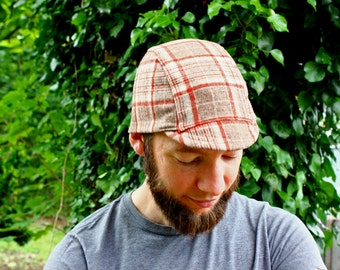 Cycling Cap, Tan, Brown, Red Plaid, Men's and Women's, Winter Hat, Fall, Men's Fashion