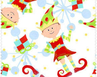 Christmas Elves on White by In The Beginning Fabrics  Cotton Fabric Yardage