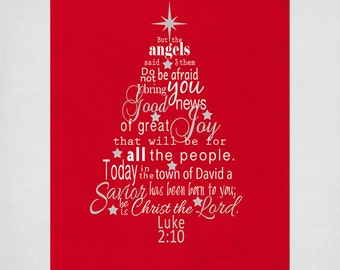 Beautiful Christmas Tree Wall Art With Luke Bible Verse In Red And White  Instant Download With Bible Verses For Christmas