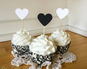 Black and White Heart Cupcake Toppers Food Party Picks (24)
