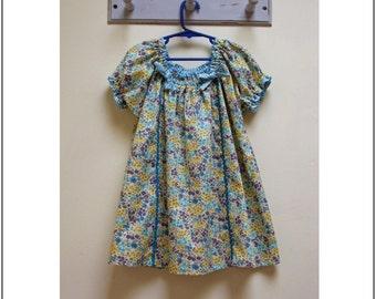 PDF sewing pattern Sweet Pea girls dress sewing pattern, children's PDF sewing pattern and tutorial sizes 1 to 10 years. Easy pattern.