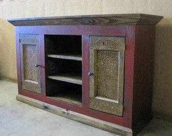 Media Console / TV Cabinet / Storage Cabinet Shown in Vibrant Red with Vintage Doors