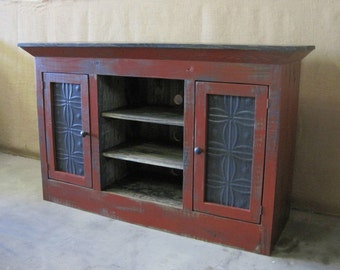 Media Console / TV Cabinet / Storage Cabinet Shown in Barn Red