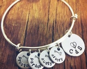 Silver Family Name Bracelet, Key To My Heart Bangle Bracelet, Personalized With Your Childrens Names, Adjustable Bangle