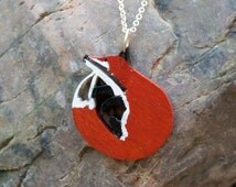 FREE SHIPPING  Wooden Fox Pendant Necklace Painted with Acrylic Paint