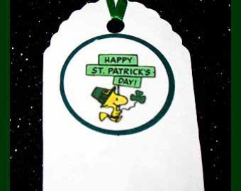 woodstock peanuts St. Patricks Day Gift Tags, woodstock peanuts St. Patricks Day party favor tags set of 10