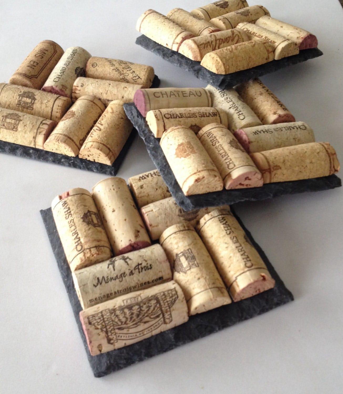 Slate wine cork coasters wine cork coasters set of 4 wine for Crafts made with corks