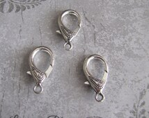 4 Pieces Lobster Clasp, Extra Large Decorative Double Sided Paisley Design 30x15mm Antique Silver Finish 7-21-AS