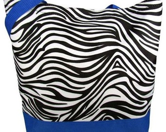 SALE**** Zebra Tote with Blue Trim- Velcro closure- with free embroidery