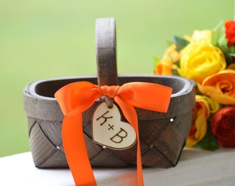 fall flower girl basket,  orange flower girl basket, fall wedding, autumn wedding, personalized B111