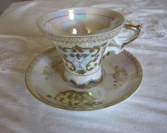 Royal Crown china tea cup and saucer, vintage, irridescent 905 Circa 1940's