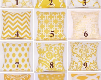 Yellow Pillow Cover, Decorative Pillow,Toss Pillow, Handmade, Starfish, Lumbar,Beach,Anchor,Seahorse, Chevron, Damask, Dots, Links, Ikat