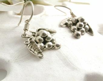 Sterling Silver Grape Earrings