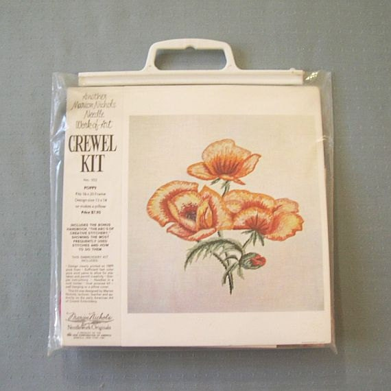 SALE Vintage 70s Poppy Crewel Embroidery Kit By MissIvyVintage