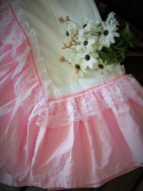 Pink Gingham Crib Skirt 60